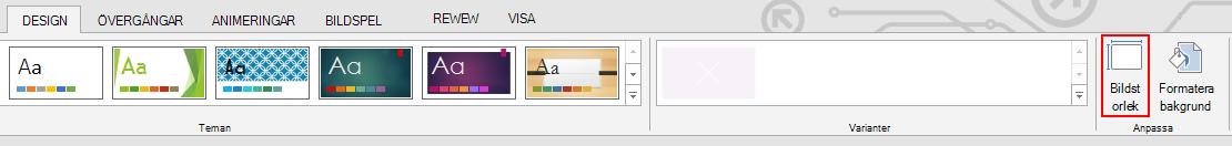 Klicka på Bildstorlek i gruppen Anpassa på fliken Design.