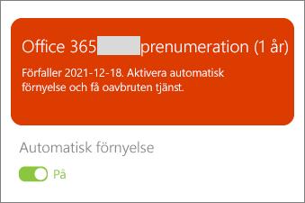 Granska information om Office 365-prenumeration