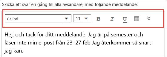 Autosvarsmeddelande för Outlook på webben