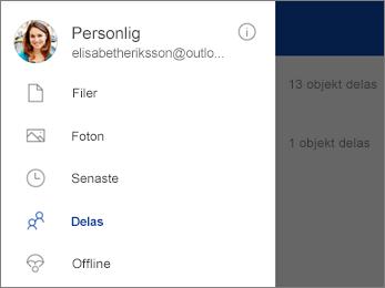 Delad vy i OneDrive
