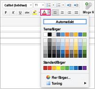 Teckensnittsfärgblandare i Outlook för Mac