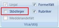 Kryssrutan Stödlinjer i gruppen Visa/Dölj