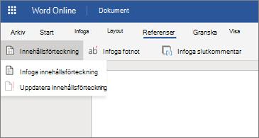 Word-dokument med alternativ för innehållsförteckning visas