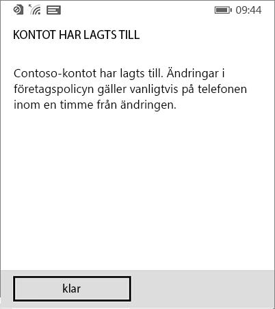 Fullständigt arbetsplatskonto på Windows Phone