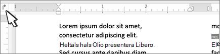 Vänster flik i Mac på linjalen