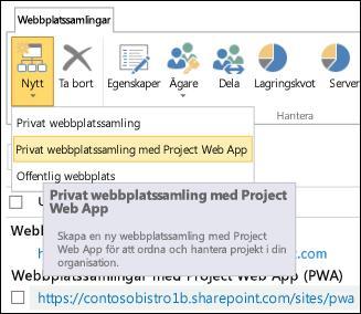 Ny > Privat webbplatssamling med Project Web App