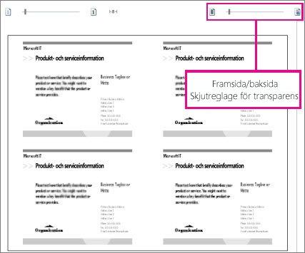 Skriv ut förhandsbild för att se både fram- och baksida av din publikation så att du ser att de är korrekt justerade.