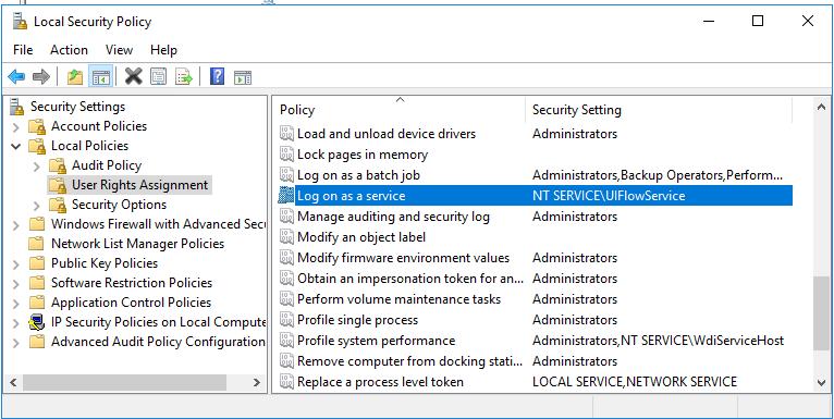 UIFlowService i Logga in som lokal tjänst