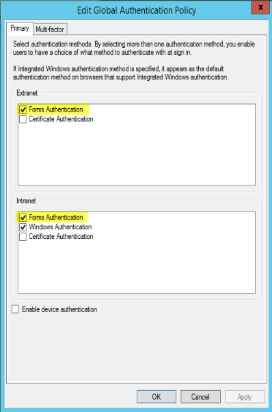 ADFS formulär Auth skärmbild