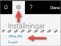 En bild som visar var du kan klicka i Inställningar.