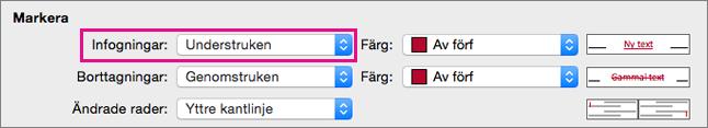 Markeringstypen Infogningar är markerad i rutan Spåra ändringar.