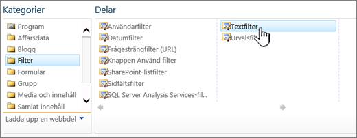 Markera textfiltrets webbdel