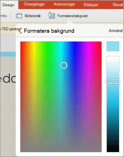 Anpassade bakgrundsfärger