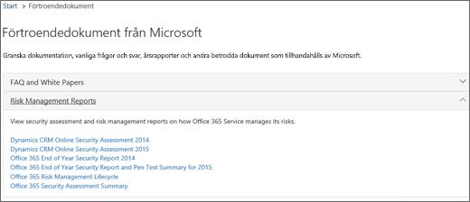 Visar sidan Tjänstgranskning: Lita på dokument som tillhandahålls av Microsoft