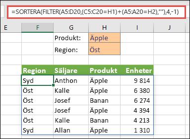 FILTER och SORTERA tillsammans – Filtrera efter produkt (äpple) ELLER region (öst)