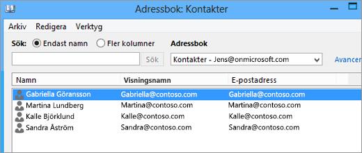 När dina kontakter har importerats från Google Gmail till Office 365 kan du se dem i Adressbok: Kontakter