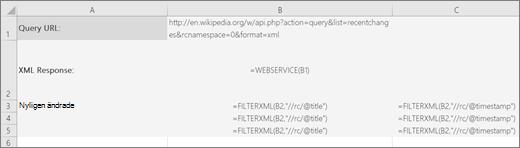 Ett exempel på funktionen FILTERXML
