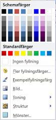 Fyllningsalternativ för WordArt-form i Publisher 2010