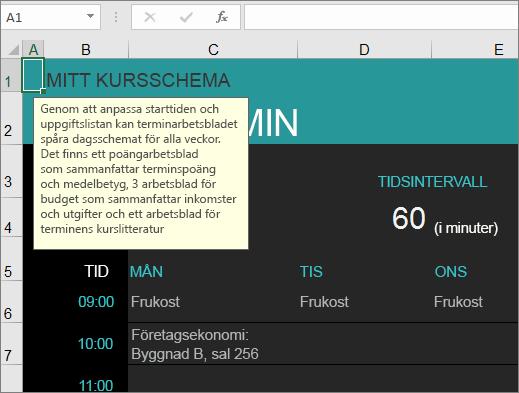 Den nya Excel-mallen Universitetskurshanterare med beskrivningar av element.