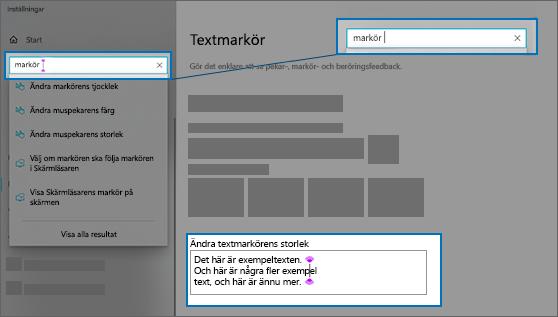 Sidan Inställningar för textmarkör