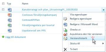 Listruta för en SharePoint-fil. Versions historik är markerad.