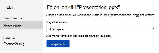 Hämta en länk till en presentation