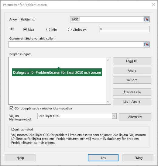 Bild av dialog rutan i Excel 2010 + problemlösa ren