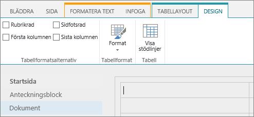 Skärmbild som visar menyfliksområdet i SharePoint Online. Använd fliken Design för att markera kryssrutor för rubrikrad, sidfotsrad, första och sista kolumn i en tabell samt välja bland tabellformat och ange om tabellen använder stödlinjer.