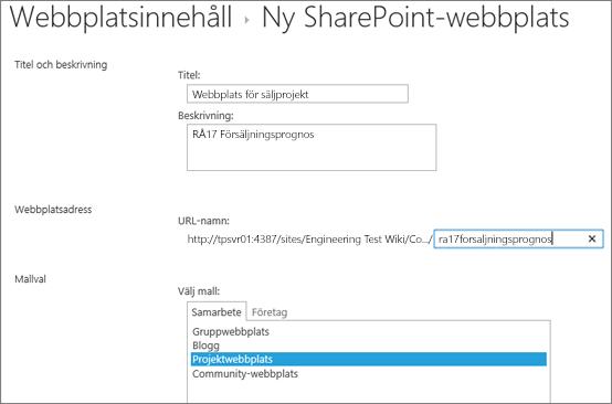SharePoint 2016 underwebbplats, skärmen Skapa