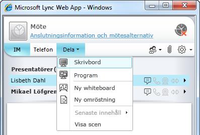 Dela-menyn i Lync Web App