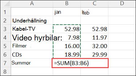 Formel som skapats genom att klicka på Start > Autosumma