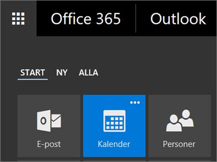 Skärmbild av panelen Kalender i Office 365-appstartaren.