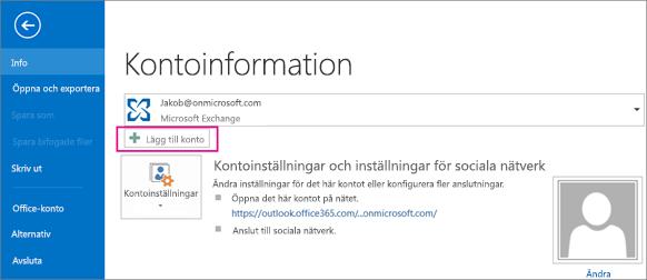 Om du vill lägga till ett gmail-konto i Outlook klickar du på Lägg till konto