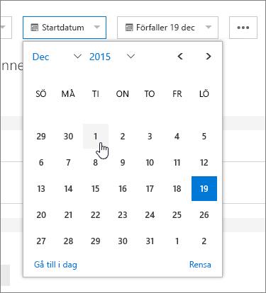 Datumfält i uppgiftsinformationen