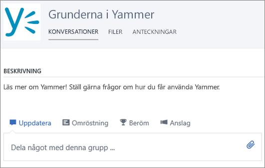 Ett exempel på Yammer 101-grupp
