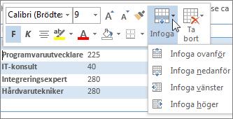 Formateringsverktygsfältet