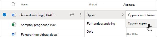 Meny alternativet öppna > öppna i program som är markerat för en Word-fil på OneDrive online-portalen