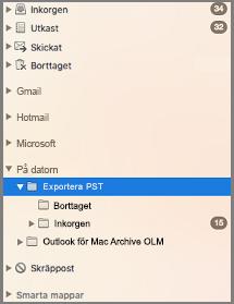 """Navigeringsfönstret med """"på datorn"""" markerat"""