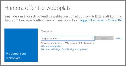 Dialogrutan Hantera offentlig webbplats, som visar Välj en domän.