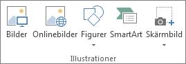 Gruppen Illustrationer på fliken Infoga i Excel