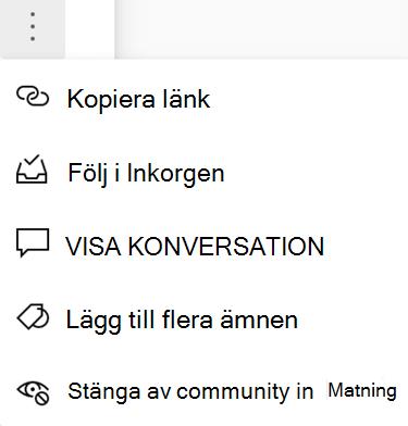 Skärm bild som visar användare för att stänga av en community från en ny Yammer-konversation