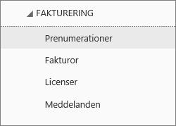 Skärmbild av menyn Fakturering i administrationscentret för Office 365, med Abonnemang valt.