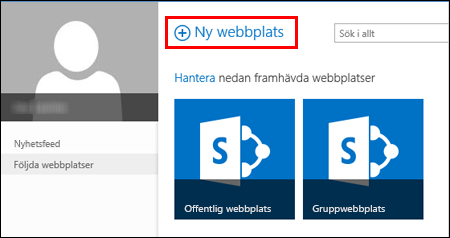 Nistes sida i SharePoint Online, med knappen Ny webbplats