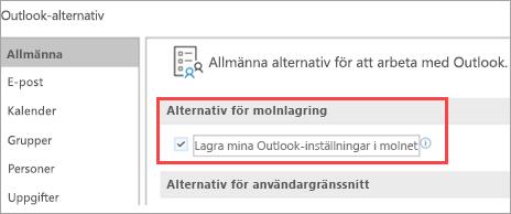 Visas som alternativ för Outlook-inställningar