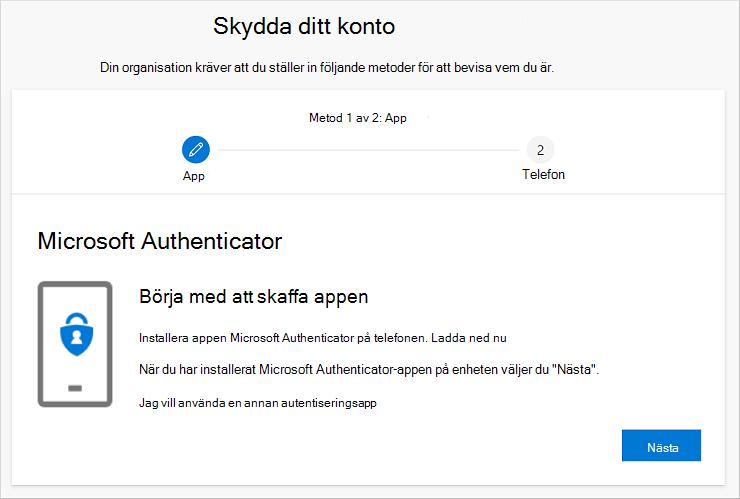 Guiden Skydda ditt konto med nedladdningssidan Authenticator appen