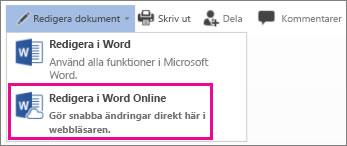 Redigera i Word Online