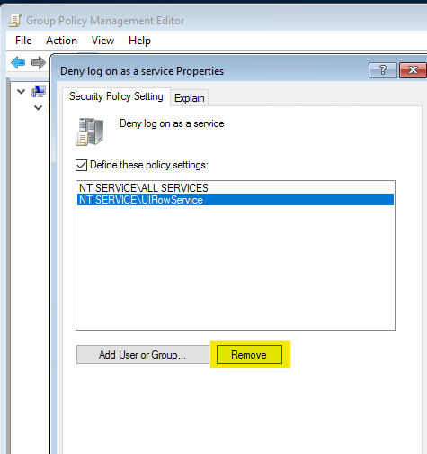 UIFlowService kontrol lera Neka inloggning som en grup princip för tjänst