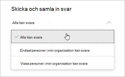 Delningsalternativ för Microsoft Forms