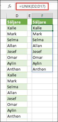 Funktionen UNIK används för att sortera en lista med namn