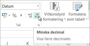 Knappen Minska decimaler